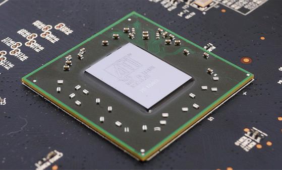 '라데온' GPU의 모습, 대부분 냉각장치에 덮여있기 때문에 실물을 보긴 힘들다.