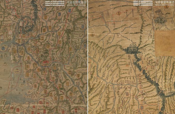 '동국'이라는 이름은 우리나라를 가리키는 별칭 중 대표적인 것이고, '대지도'라는 이름에서도 알 수 있는 것처럼 크기가 가로 147cm, 세로 272cm에 달하는 큰 지도이다.