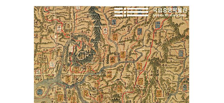 정상기, [동국대지도] 일부, 조선시대, 가로 147cm/세로 272cm, 보물 제1538호, 국립중앙박물관