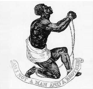 """""""나 역시 인간, 그리고 형제가 아닙니까?"""" 노예무역 폐지운동에 공감한 유명한 도자기 제조업자 조사이어 웨지우드(Josiah Wedgwood)가 1787년에 만든 포스터."""